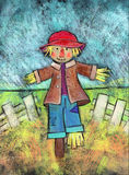 Cute Scarecrow. Acrylic painting of a scarecrow standing in a field with a white fence behind him Royalty Free Stock Photography