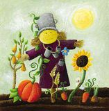 Cute Scarecrow on the field. Acrylic illustration of Cute Scarecrow on the field Stock Image