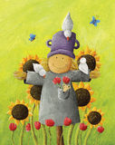 Cute Scarecrow in sunflower field. Acrylic illustration of Cute Scarecrow in sunflower field Royalty Free Stock Image