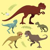 Scary dinosaurs vector tyrannosaurus t-rex danger creature force wild jurassic predator prehistoric extinct illustration. Cute and scary dinosaurs vector Royalty Free Stock Image