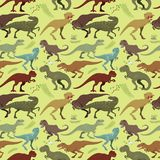 Scary dinosaurs vector tyrannosaurus seamless pattern background t-rex danger creature force wild jurassic predator. Cute and scary dinosaurs vector collection Royalty Free Stock Image