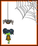 Cute scary girl with smiling spider and web Royalty Free Stock Images