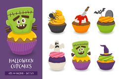 Cute and scary halloween cupcake collection. Halloween cupcake set. Cute scary desserts, perfect for party invitations. Vector illustration on a white background stock illustration
