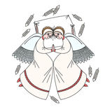 Cute scene with angels on the pillow. White background. Stock Image