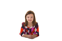 Cute school aged child isolated on white Stock Photos