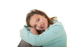 Cute school aged child isolated on white Royalty Free Stock Photography