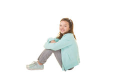 Cute school aged child isolated on white Stock Photography