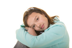Cute school aged child isolated on white Royalty Free Stock Image