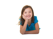 Cute school aged child isolated on white Stock Photo