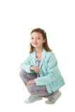 Cute school aged child isolated on white Royalty Free Stock Photo