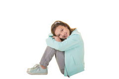 Cute school aged child isolated on white Royalty Free Stock Photos
