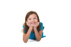 Cute school aged child isolated on white Royalty Free Stock Images