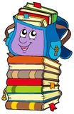 Cute school bag on pile of books Royalty Free Stock Photos