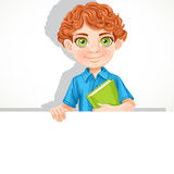 Cute school boy with book hold banner Stock Photos