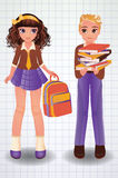 Cute school boy and girl, vector Royalty Free Stock Image