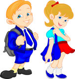 Cute school boy and girls Royalty Free Stock Photo