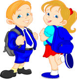 Cute school boy and girls Royalty Free Stock Photos