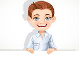 Cute school boy hold big banner Royalty Free Stock Images