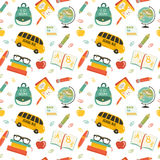 Cute school cartoon seamless pattern. Back to school illustration. Pencil, pen, apple, books, bag, globe, school bus. All for beginning of the school. Vector Royalty Free Stock Photos