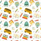 Cute school cartoon seamless pattern Royalty Free Stock Photos