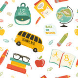 Cute school cartoon seamless pattern Royalty Free Stock Image