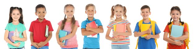 Cute school children with stationery. On white background royalty free stock photography