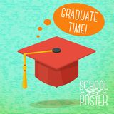 Cute school, college, university poster -. Cute school poster - graduation cap, with speech bubble and slogan -Graduate time-, place for your text Stock Photo