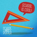 Cute school, college, university poster - pencil,. Poster for school, college, university  - pencil and ruler, with speech bubble for your message Royalty Free Stock Photography