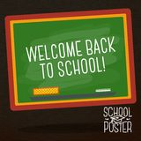 Cute school, college, university poster - school. Poster for school, college, university  - school black chalkboard, with speech bubble for your message Royalty Free Stock Images