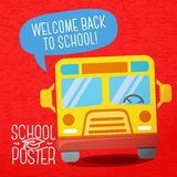 Cute school, college, university poster - school. Poster for school, college, university  - school bus, with speech bubble for your message Royalty Free Stock Images