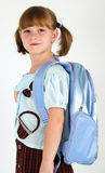 Cute school girl. With backpack Stock Image