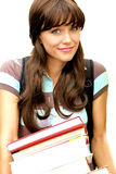 Cute School Girl with books Royalty Free Stock Photography