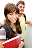 Cute School Girl with books Stock Photography