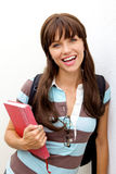 Cute School Girl with books Stock Photos