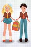 Cute school girl and boy, vector Stock Photography