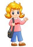 Cute school girl go to school Royalty Free Stock Image