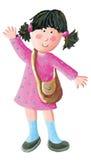 Cute school girl go to school or to kindergarten Stock Photos
