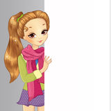 Cute School Girl Hold Banner Royalty Free Stock Photography