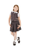 Cute school girl isolated on white background Royalty Free Stock Photography