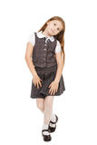 Cute school girl isolated on white background Stock Photography