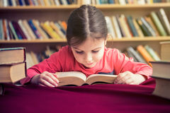 Cute School Girl Loves to Read Books Royalty Free Stock Images