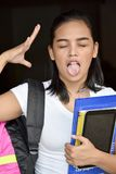 Cute School Girl Under Stress. An attractive and asian person stock photography