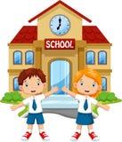 Cute school kids cartoon Stock Photos