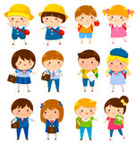 Cute school kids. School kids of different ages with and without school uniforms Stock Image