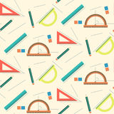 Cute school mathematics pattern with rulers, pencils, lines and erasers Royalty Free Stock Photography