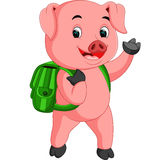Cute school pig walking with a backpack Stock Image