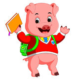 Cute school pig walking with a backpack Royalty Free Stock Photo
