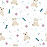 Cute school seamless pattern. With animal bear and letters of the alphabet and with notebooks and pencil for children to study for prints and textiles on a stock illustration