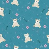 Cute school seamless. Pattern with animal bear and letters of the alphabet and with notebooks and pencil for children to study for prints and textiles on a blue stock illustration