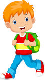 Cute schoolboy cartoon Stock Images